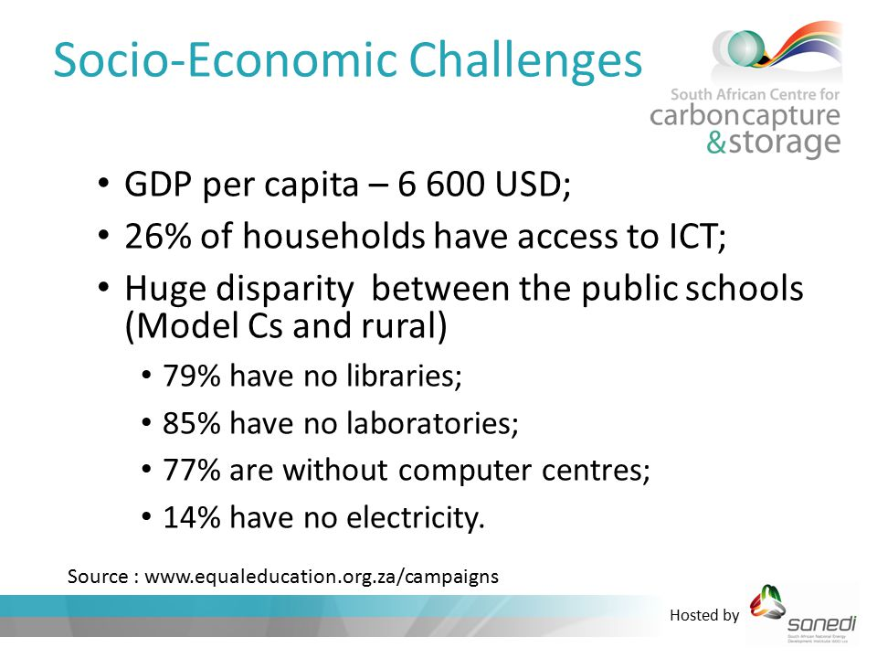 Hosted by Socio-Economic Challenges GDP per capita – 6 600 USD; 26% of households have access to ICT; Huge disparity between the public schools (Model Cs and rural) 79% have no libraries; 85% have no laboratories; 77% are without computer centres; 14% have no electricity.