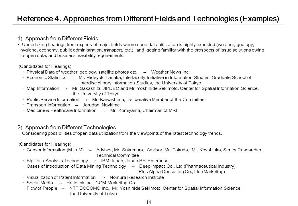 14 Reference 4. Approaches from Different Fields and Technologies (Examples) 1) Approach from Different Fields ・Undertaking hearings from experts of m