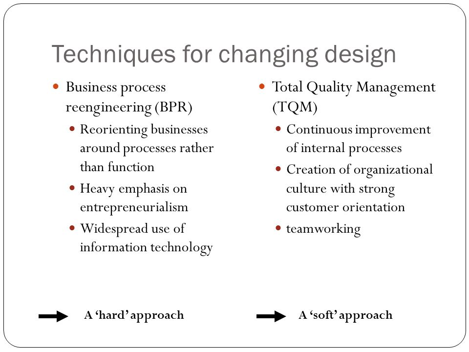 Techniques for changing design Business process reengineering (BPR) Reorienting businesses around processes rather than function Heavy emphasis on entrepreneurialism Widespread use of information technology Total Quality Management (TQM) Continuous improvement of internal processes Creation of organizational culture with strong customer orientation teamworking A 'hard' approachA 'soft' approach