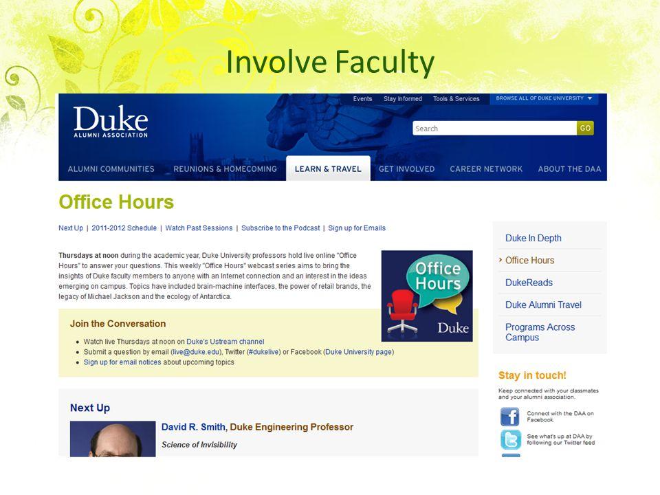 Involve Faculty