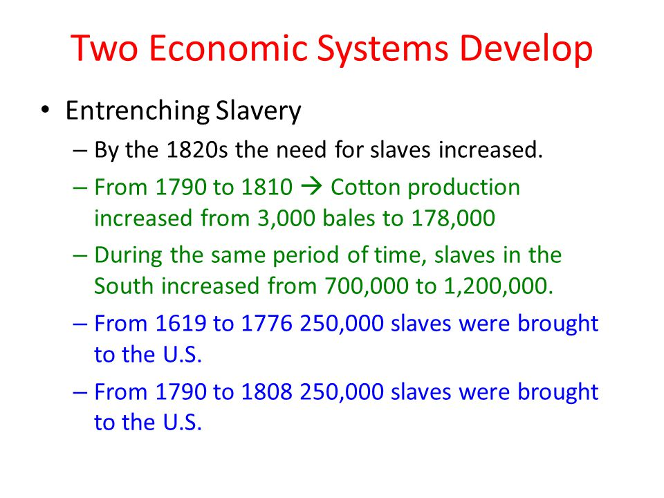Two Economic Systems Develop Entrenching Slavery – By the 1820s the need for slaves increased.