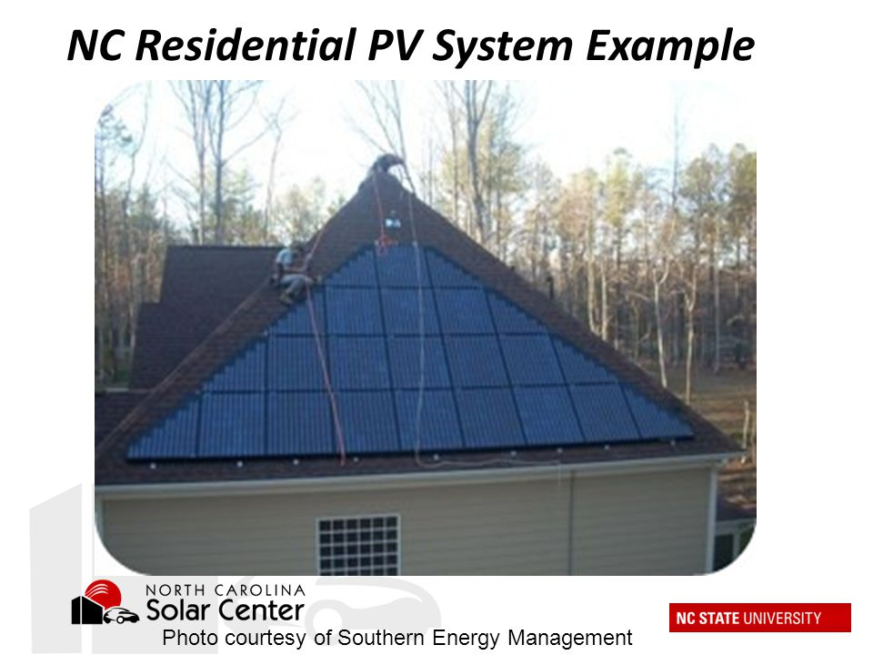 Photo courtesy of Southern Energy Management NC Residential PV System Example