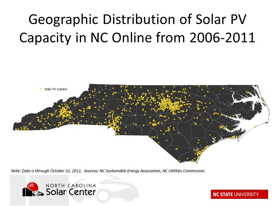 Geographic Distribution of Solar PV Capacity in NC Online from 2006-2011