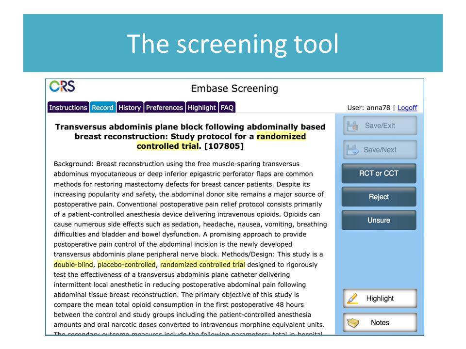 The screening tool