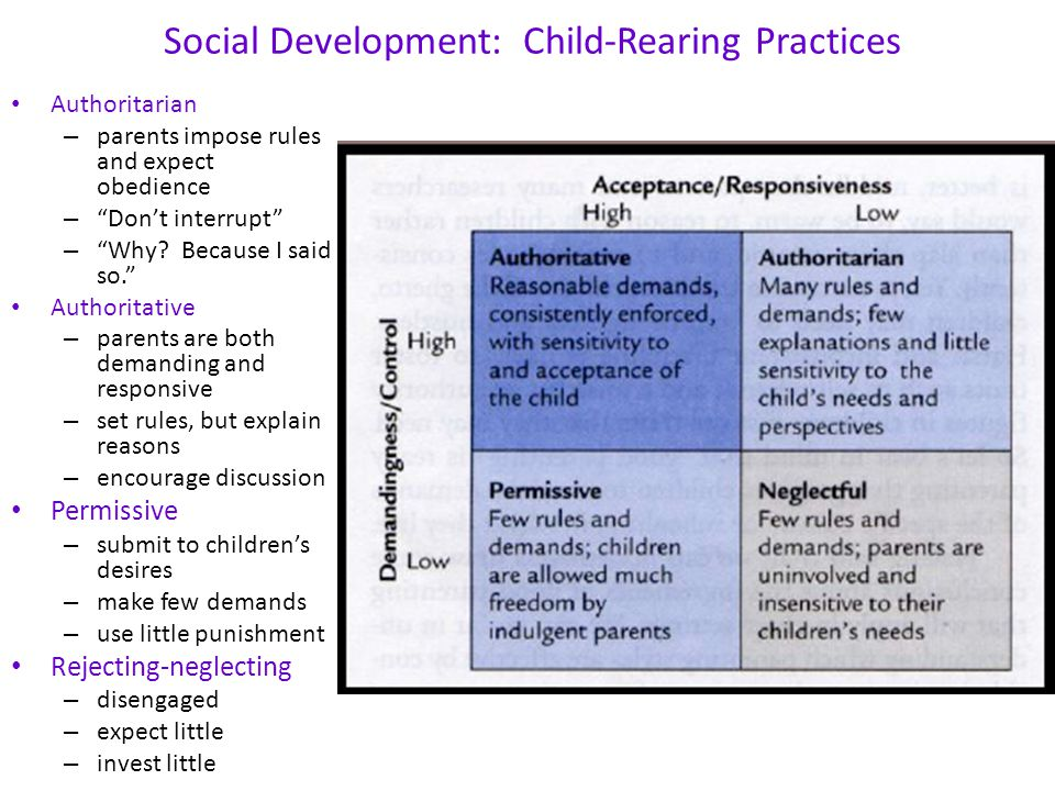 """Social Development: Child-Rearing Practices Authoritarian – parents impose rules and expect obedience – """"Don't interrupt"""" – """"Why? Because I said so."""""""