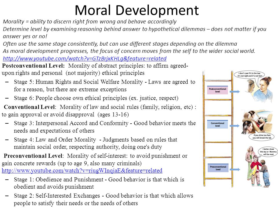 Moral Development Postconventional Level: Morality of abstract principles: to affirm agreed- upon rights and personal (not majority) ethical principle