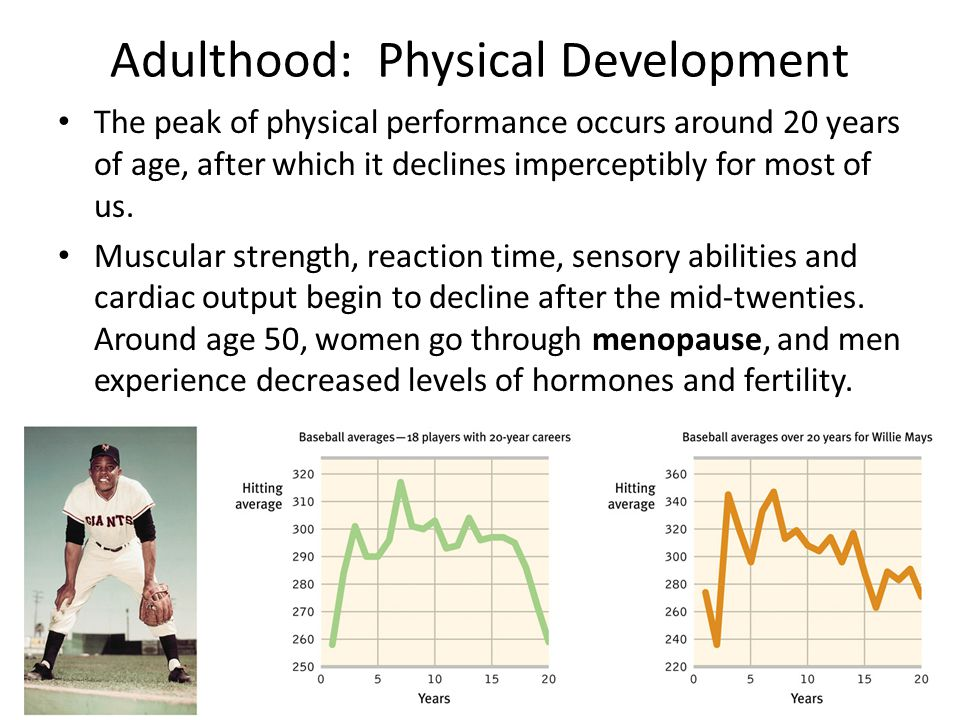 Adulthood: Physical Development The peak of physical performance occurs around 20 years of age, after which it declines imperceptibly for most of us.