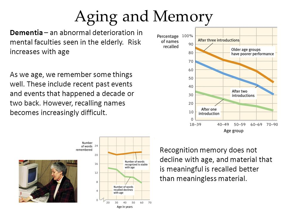 Aging and Memory Dementia – an abnormal deterioration in mental faculties seen in the elderly. Risk increases with age As we age, we remember some thi