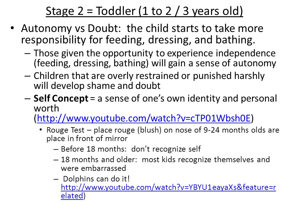 Stage 3 = Preschool (2 / 3 to 6 years old) Initiative vs.
