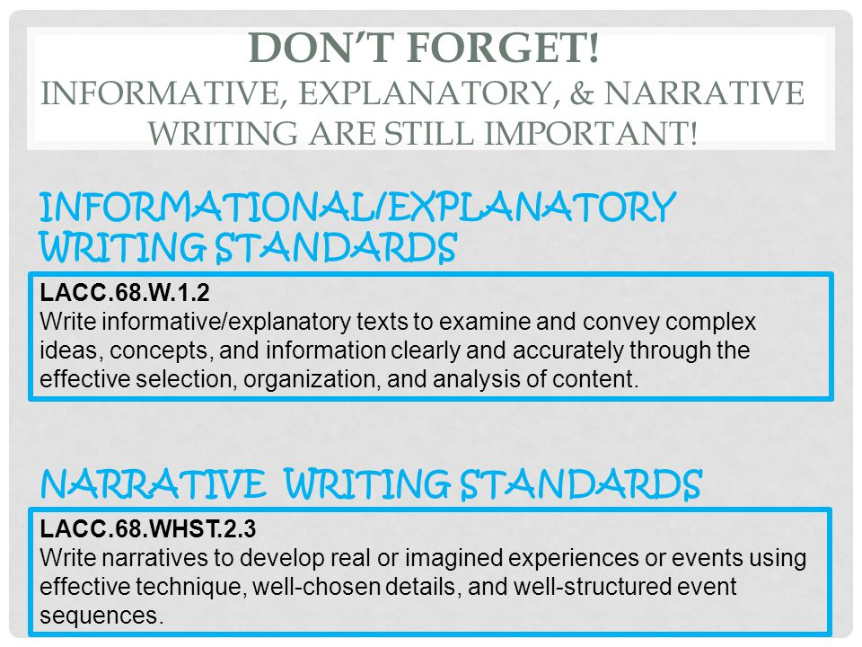DON'T FORGET! INFORMATIVE, EXPLANATORY, & NARRATIVE WRITING ARE STILL IMPORTANT! LACC.68.WHST.2.3 Write narratives to develop real or imagined experie