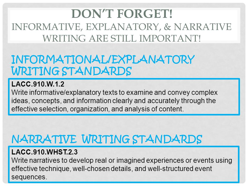 DON'T FORGET! INFORMATIVE, EXPLANATORY, & NARRATIVE WRITING ARE STILL IMPORTANT! LACC.910.WHST.2.3 Write narratives to develop real or imagined experi