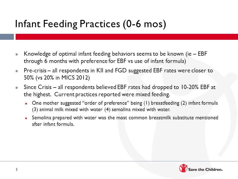 3 Infant Feeding Practices (0-6 mos) Knowledge of optimal infant feeding behaviors seems to be known (ie – EBF through 6 months with preference for EBF vs use of infant formula) Pre-crisis – all respondents in KII and FGD suggested EBF rates were closer to 50% (vs 20% in MICS 2012) Since Crisis – all respondents believed EBF rates had dropped to 10-20% EBF at the highest.