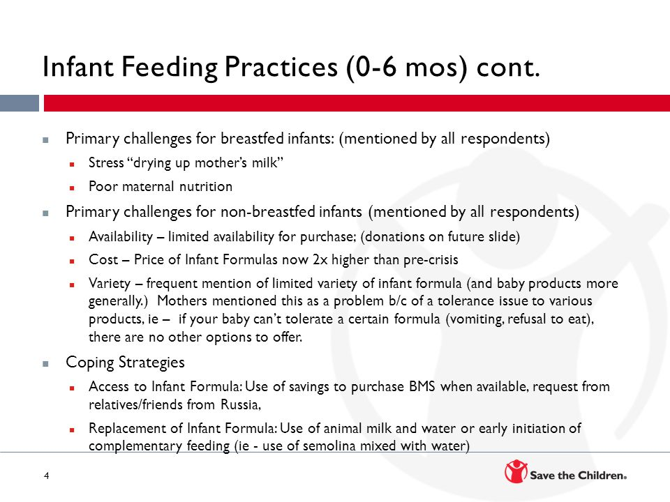 5 Young Child Feeding Practices (6-23 mos) Pre-Crisis – (reported) Initiation of complementary feeding between 6-9 months introducing a new food group each month; starting with veg, followed by kashki, then by juice, next meat and eggs, and finally fruit.