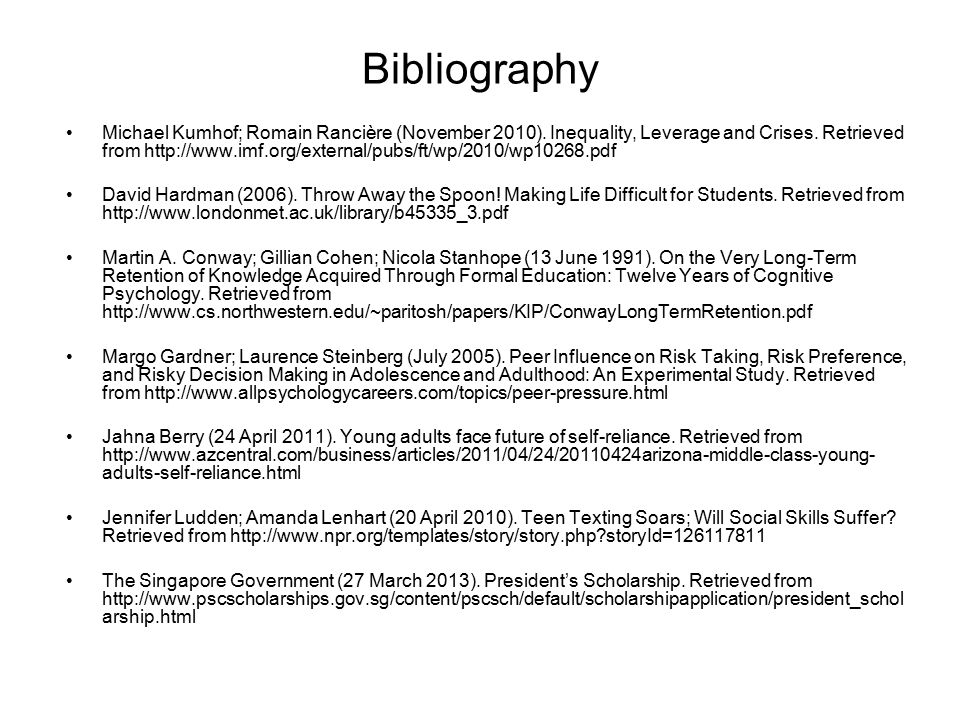 Bibliography Michael Kumhof; Romain Rancière (November 2010). Inequality, Leverage and Crises. Retrieved from http://www.imf.org/external/pubs/ft/wp/2