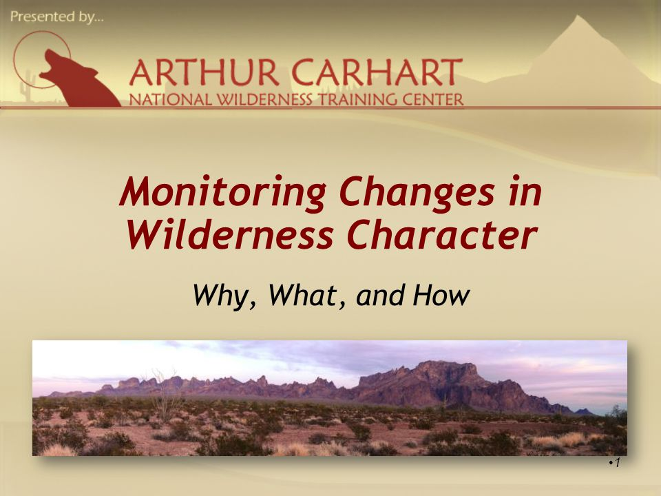 Monitoring Changes in Wilderness Character Peter Landres Ecologist, USDA Forest Service Aldo Leopold Wilderness Research Institute Chris Barns Wilderness Specialist, BLM National Landscape Conservation System Arthur Carhart National Wilderness Training Center 2