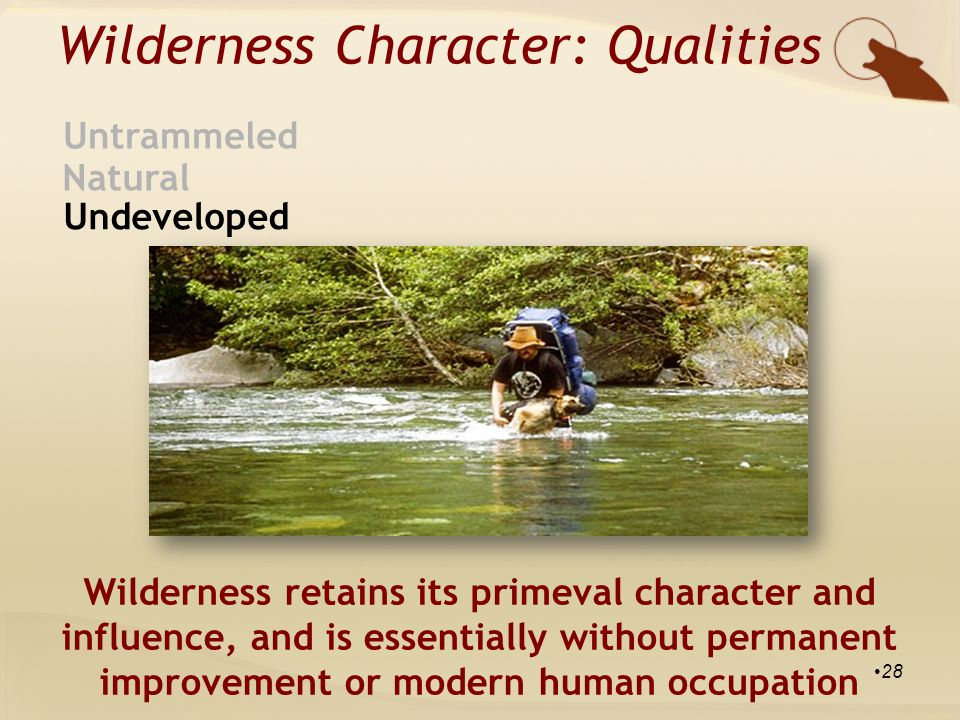 Wilderness Character: Qualities Natural Untrammeled Undeveloped Wilderness retains its primeval character and influence, and is essentially without permanent improvement or modern human occupation 28