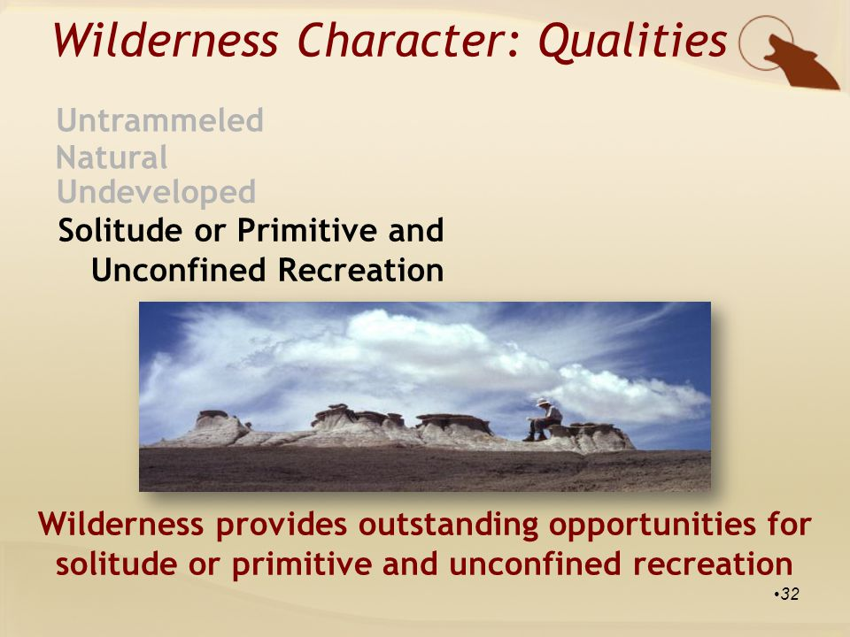 Wilderness Character: Qualities Natural Untrammeled Undeveloped Solitude or Primitive and Unconfined Recreation Wilderness provides outstanding opportunities for solitude or primitive and unconfined recreation 32