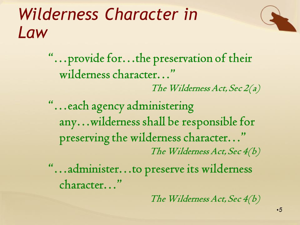 …provide for…the preservation of their wilderness character… The Wilderness Act, Sec 2(a) …each agency administering any…wilderness shall be responsible for preserving the wilderness character… The Wilderness Act, Sec 4(b) …administer…to preserve its wilderness character… The Wilderness Act, Sec 4(b) 5 Wilderness Character in Law