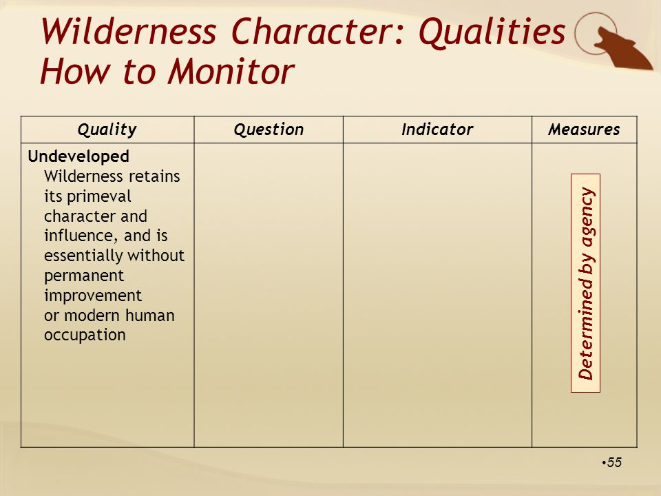 QualityQuestionIndicatorMeasures Undeveloped Wilderness retains its primeval character and influence, and is essentially without permanent improvement or modern human occupation Wilderness Character: Qualities How to Monitor 55 Determined by agency
