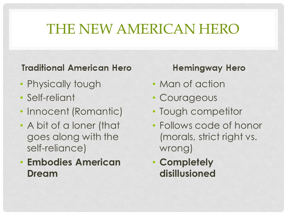 THE NEW AMERICAN HERO Traditional American Hero Physically tough Self-reliant Innocent (Romantic) A bit of a loner (that goes along with the self-reli