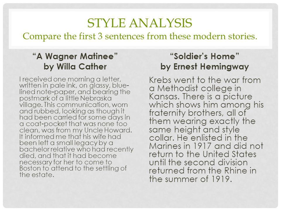 "STYLE ANALYSIS Compare the first 3 sentences from these modern stories. ""A Wagner Matinee"" by Willa Cather I received one morning a letter, written in"