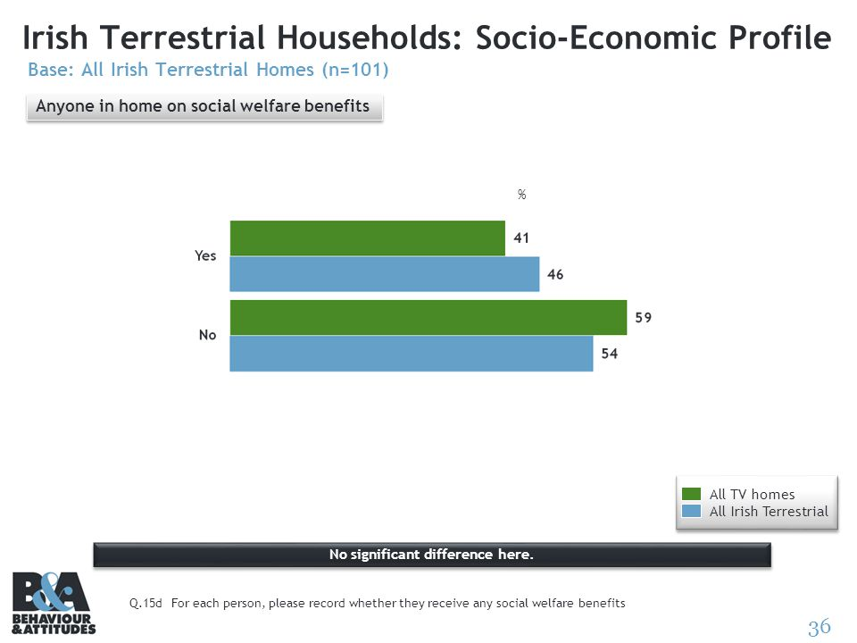 36 Irish Terrestrial Households: Socio-Economic Profile Base: All Irish Terrestrial Homes (n=101) % Q.15dFor each person, please record whether they r