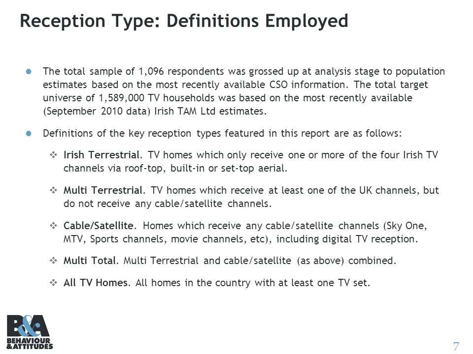 7 Reception Type: Definitions Employed The total sample of 1,096 respondents was grossed up at analysis stage to population estimates based on the mos