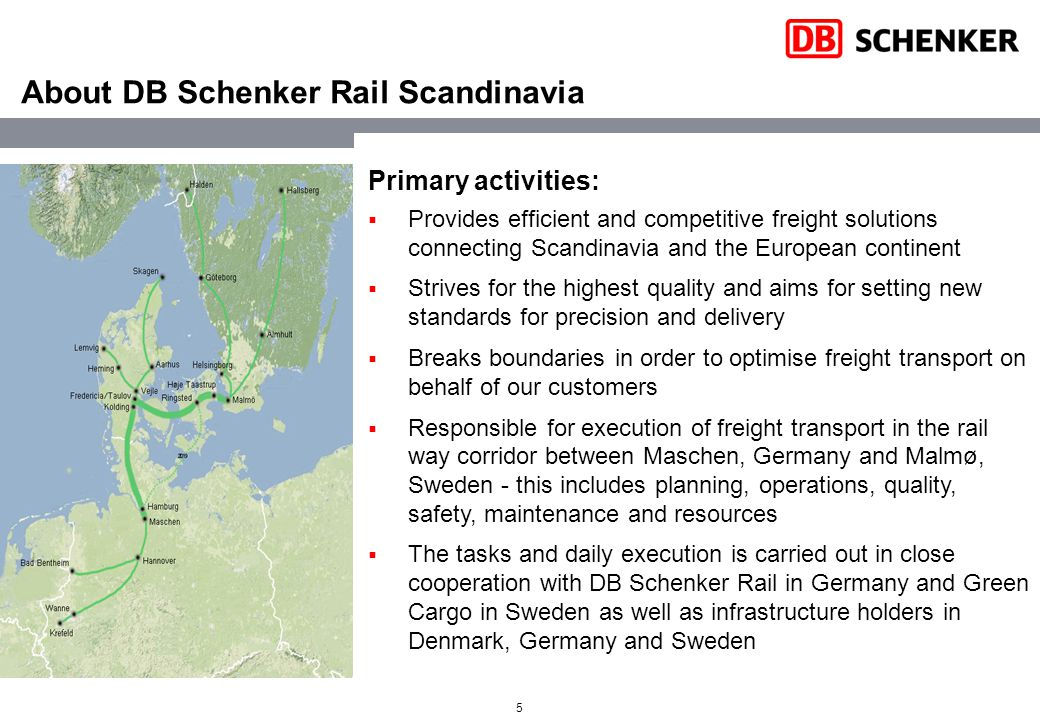 5 About DB Schenker Rail Scandinavia Primary activities:  Provides efficient and competitive freight solutions connecting Scandinavia and the European continent  Strives for the highest quality and aims for setting new standards for precision and delivery  Breaks boundaries in order to optimise freight transport on behalf of our customers  Responsible for execution of freight transport in the rail way corridor between Maschen, Germany and Malmø, Sweden - this includes planning, operations, quality, safety, maintenance and resources  The tasks and daily execution is carried out in close cooperation with DB Schenker Rail in Germany and Green Cargo in Sweden as well as infrastructure holders in Denmark, Germany and Sweden