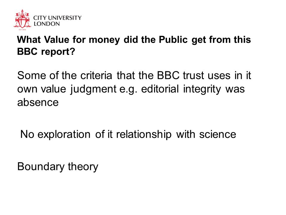 What Value for money did the Public get from this BBC report.