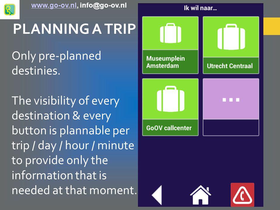BUSINESS CASE ACTUAL COSTS per traveller per year: € 2.200,- to € 3.750,- COSTS WITH GoOV per traveller per year: – Subscription GoOV: € 220,- – Call centre: € 350,- – Smartphone + minutes + data: € 355,- – Public transport pass: € 750,- € 1.675,- www.go-ov.nl, info@go-ov.nlwww.go-ov.nl