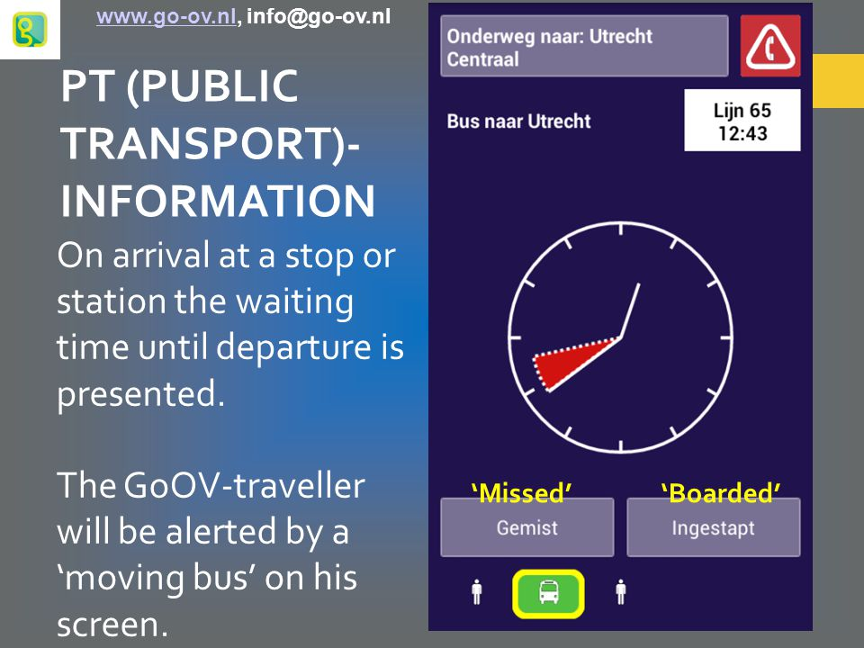 PT (PUBLIC TRANSPORT)- INFORMATION On arrival at a stop or station the waiting time until departure is presented.
