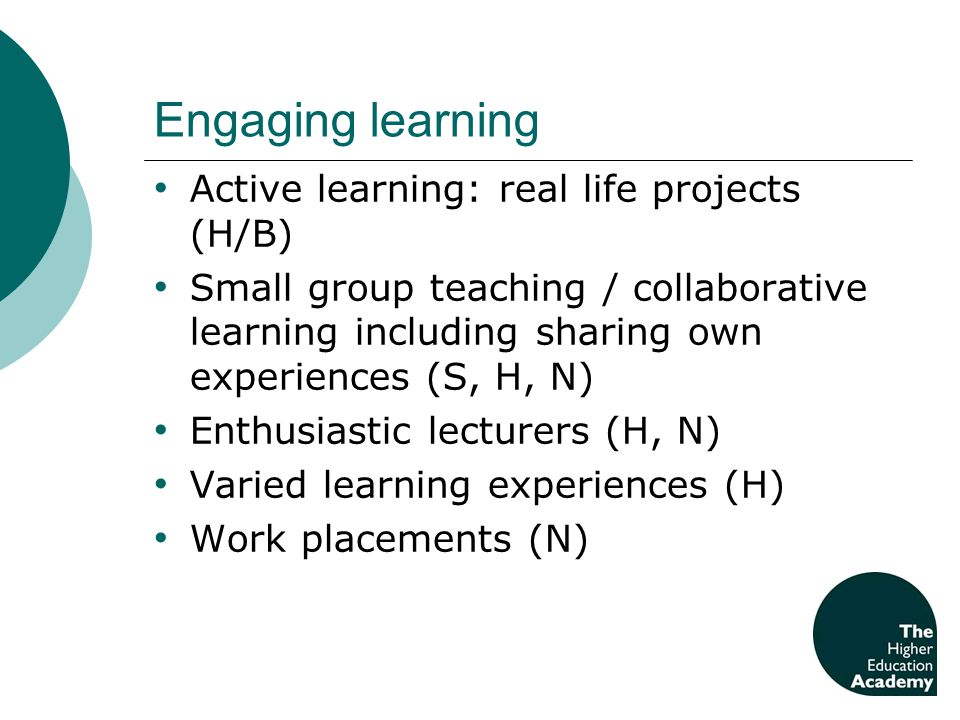 Engaging learning Active learning: real life projects (H/B) Small group teaching / collaborative learning including sharing own experiences (S, H, N)