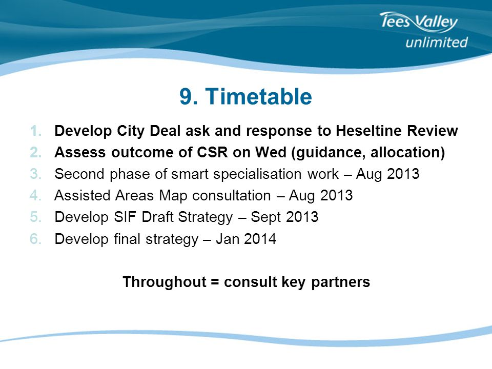 9. Timetable 1.Develop City Deal ask and response to Heseltine Review 2.Assess outcome of CSR on Wed (guidance, allocation) 3.Second phase of smart sp
