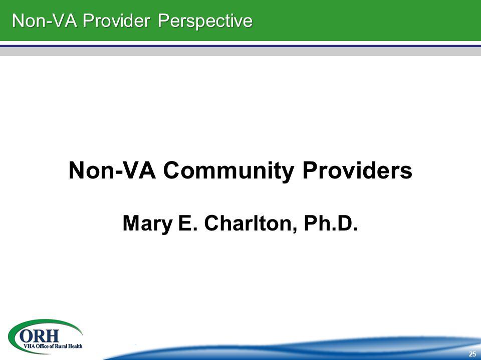 25 Non-VA Provider Perspective Non-VA Community Providers Mary E. Charlton, Ph.D.