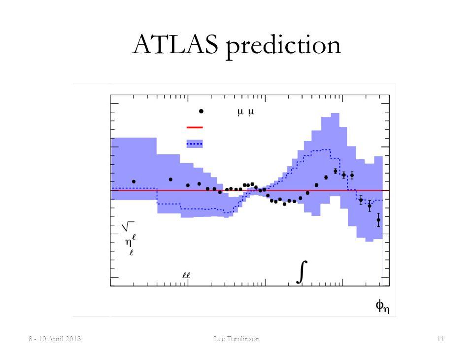 ATLAS prediction 8 - 10 April 2013Lee Tomlinson11