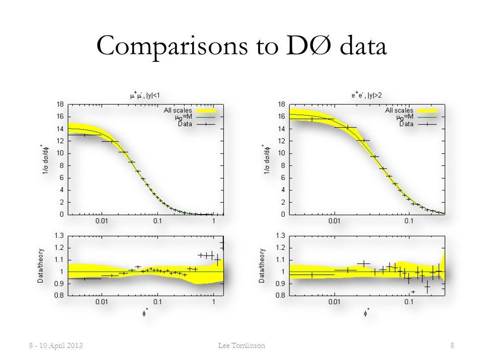 Comparisons to DØ data 8 - 10 April 2013Lee Tomlinson8