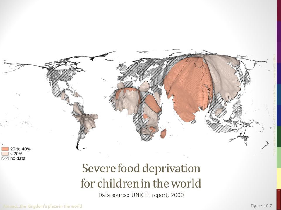 The Population of the UK – © 2012 Sasi Research Group, University of Sheffield Severe food deprivation for children in the world Data source: UNICEF report, 2000 Figure 10.7 Abroad…the Kingdom's place in the world