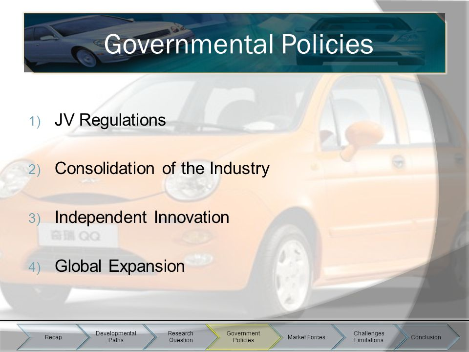 1) JV Regulations 2) Consolidation of the Industry 3) Independent Innovation 4) Global Expansion Market Forces Governmental Policies Recap Development