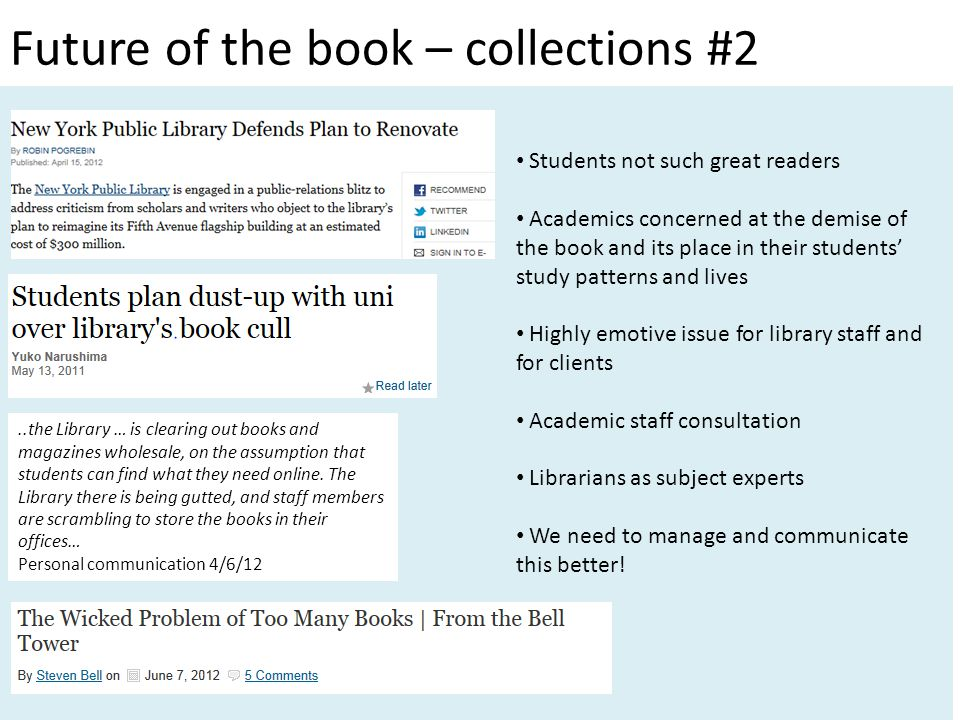 Students not such great readers Academics concerned at the demise of the book and its place in their students' study patterns and lives Highly emotive issue for library staff and for clients Academic staff consultation Librarians as subject experts We need to manage and communicate this better!..the Library … is clearing out books and magazines wholesale, on the assumption that students can find what they need online.