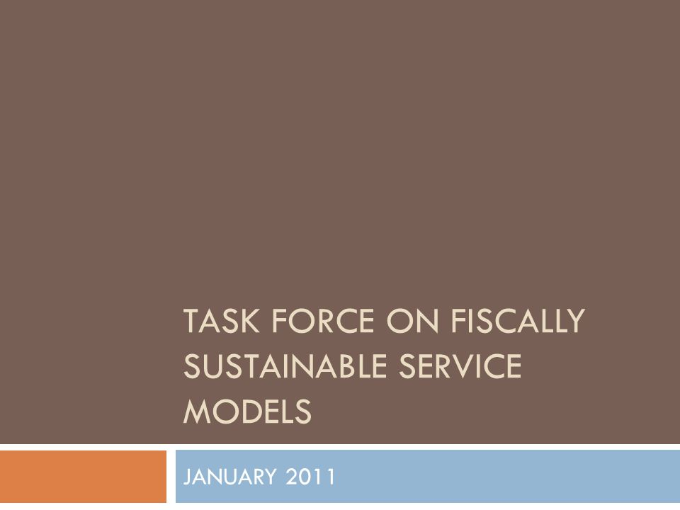 THE CHARGE  Develop a range of service models  Materials budget at a minimum of 8% of costs  A 10% reserve built over 5 years  Fiscal sustainability  Alignment with Strategic Plan  Report due by the end of January 2011