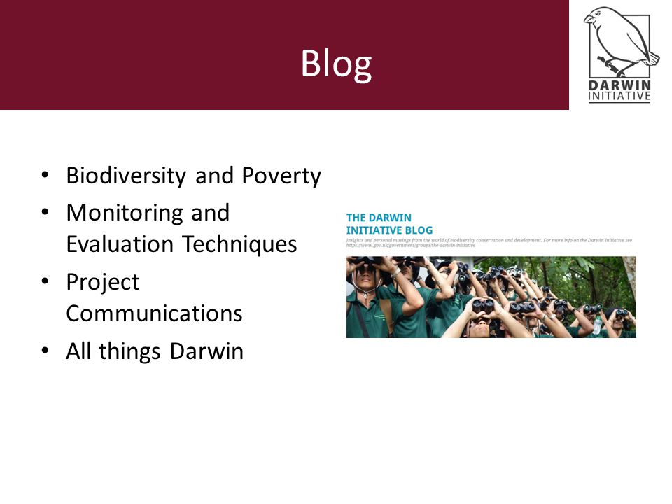 Blog Biodiversity and Poverty Monitoring and Evaluation Techniques Project Communications All things Darwin