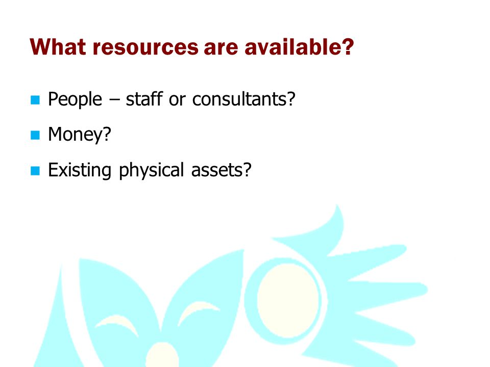 What resources are available People – staff or consultants Money Existing physical assets