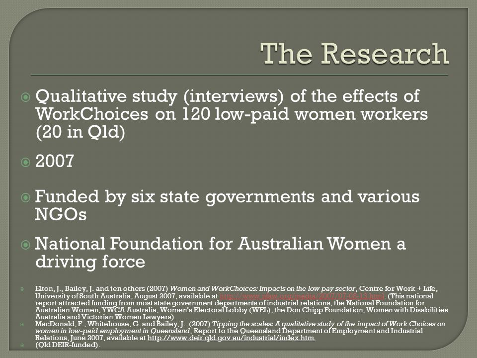  Qualitative study (interviews) of the effects of WorkChoices on 120 low-paid women workers (20 in Qld)  2007  Funded by six state governments and various NGOs  National Foundation for Australian Women a driving force  Elton, J., Bailey, J.
