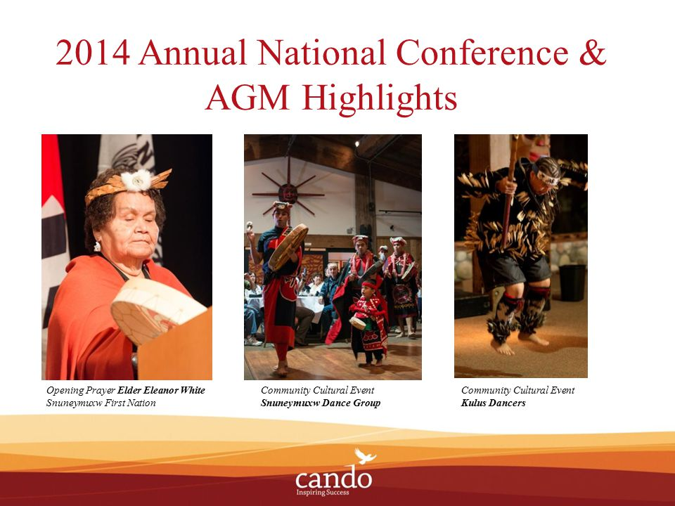 2014 Annual National Conference & AGM Highlights Opening Prayer Elder Eleanor White Snuneymuxw First Nation Community Cultural Event Kulus Dancers Community Cultural Event Snuneymuxw Dance Group