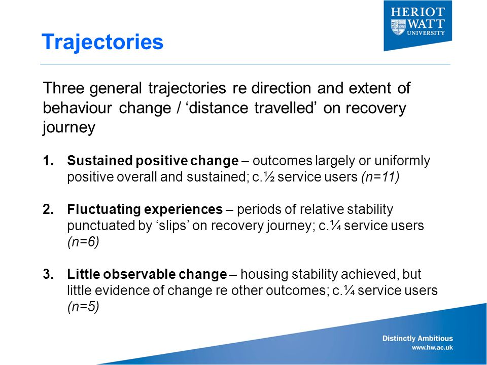 Trajectories Three general trajectories re direction and extent of behaviour change / 'distance travelled' on recovery journey 1.Sustained positive change – outcomes largely or uniformly positive overall and sustained; c.½ service users (n=11) 2.Fluctuating experiences – periods of relative stability punctuated by 'slips' on recovery journey; c.¼ service users (n=6) 3.Little observable change – housing stability achieved, but little evidence of change re other outcomes; c.¼ service users (n=5)