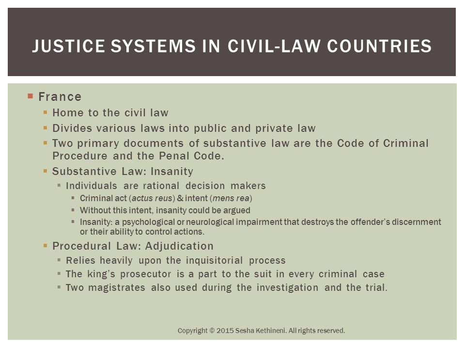  France  Home to the civil law  Divides various laws into public and private law  Two primary documents of substantive law are the Code of Crimina