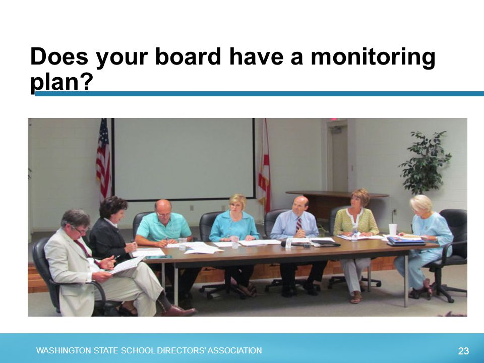 23 WASHINGTON STATE SCHOOL DIRECTORS' ASSOCIATION Does your board have a monitoring plan?