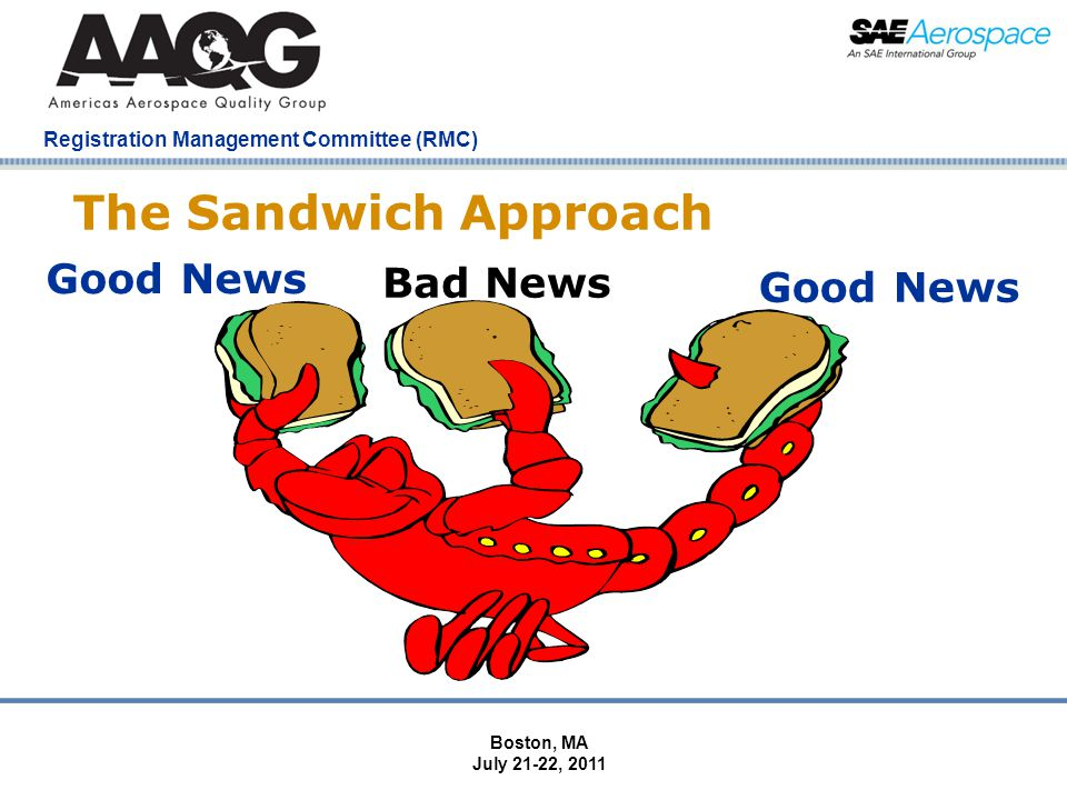 Company Confidential Registration Management Committee (RMC) The Sandwich Approach Good News Bad News Good News Boston, MA July 21-22, 2011