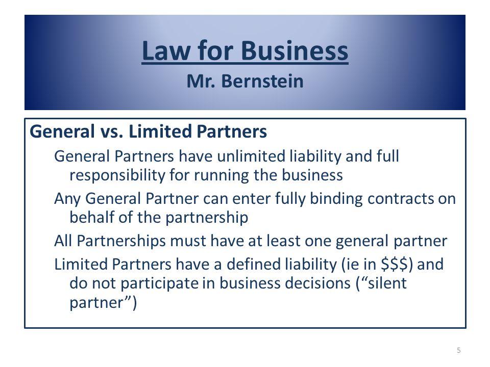 Law for Business Mr. Bernstein General vs.