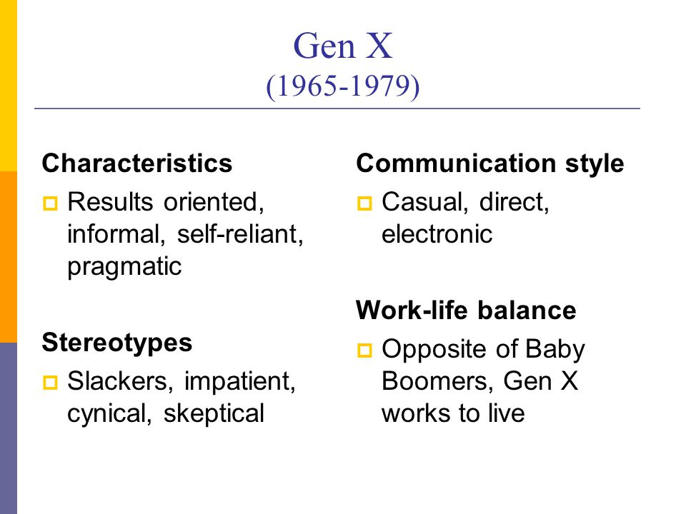 Gen X (1965-1979) Characteristics  Results oriented, informal, self-reliant, pragmatic Stereotypes  Slackers, impatient, cynical, skeptical Communication style  Casual, direct, electronic Work-life balance  Opposite of Baby Boomers, Gen X works to live